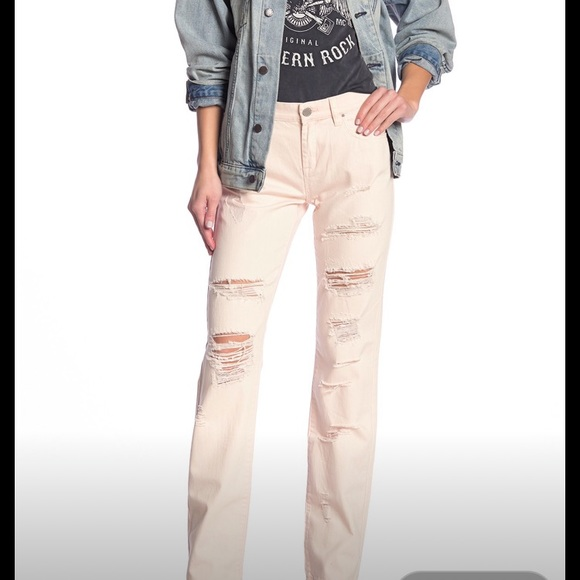Blank NYC Denim - BLANK NYC Light Pink Ditz Ripped Jeans